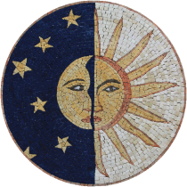 Sun Moon Blue Night Sky Mosaic