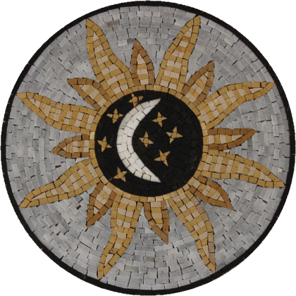 Round Accent Sun Moon and Stars Mosaic