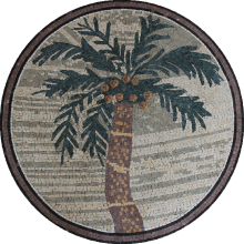 Palm Tree Round Table Top Mosaic