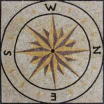Nautical Compass Sea Navigation Decor Mosaic